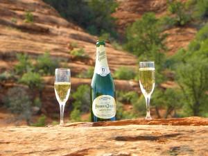 champagne poured into 2 glasses at a popular sedona wedding venue