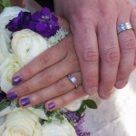 purple and white wedding