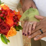 Sedona wedding rings and bouquet