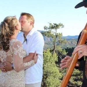 married couple at airport vortex wedding venue