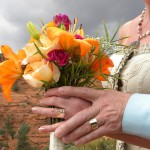 A women holds a bouquet of flowers at a Sedona wedding.