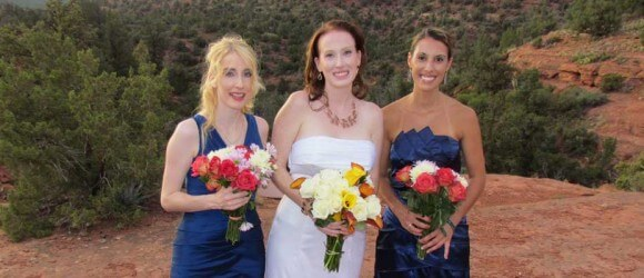 ladies and their bouquets at Huckabee