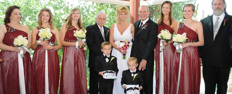 bride and groom and family at a Sedona Wedding Chapel Venue