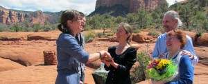 couple being married by a Sedona wedding officiant