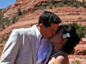 an intimate moment with a  young couple after their Sedona wedding