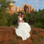 bride and groom in the shadow of Cathedral Rock Sedona