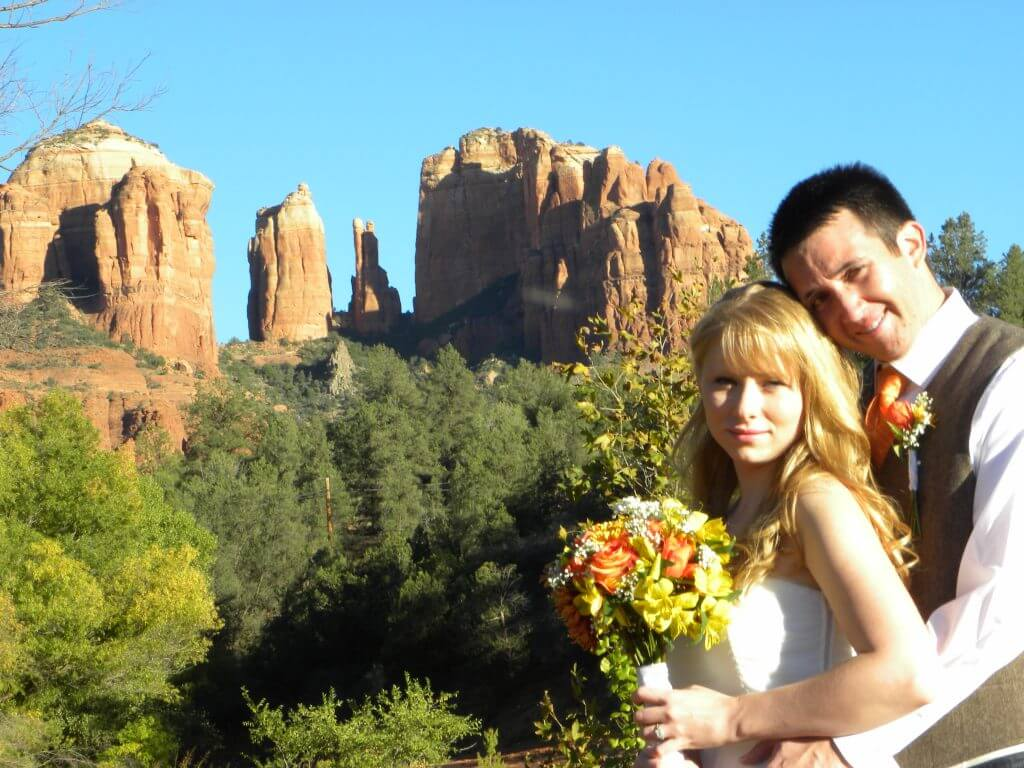 young couple just married at Red Rock Crossing in Sedona