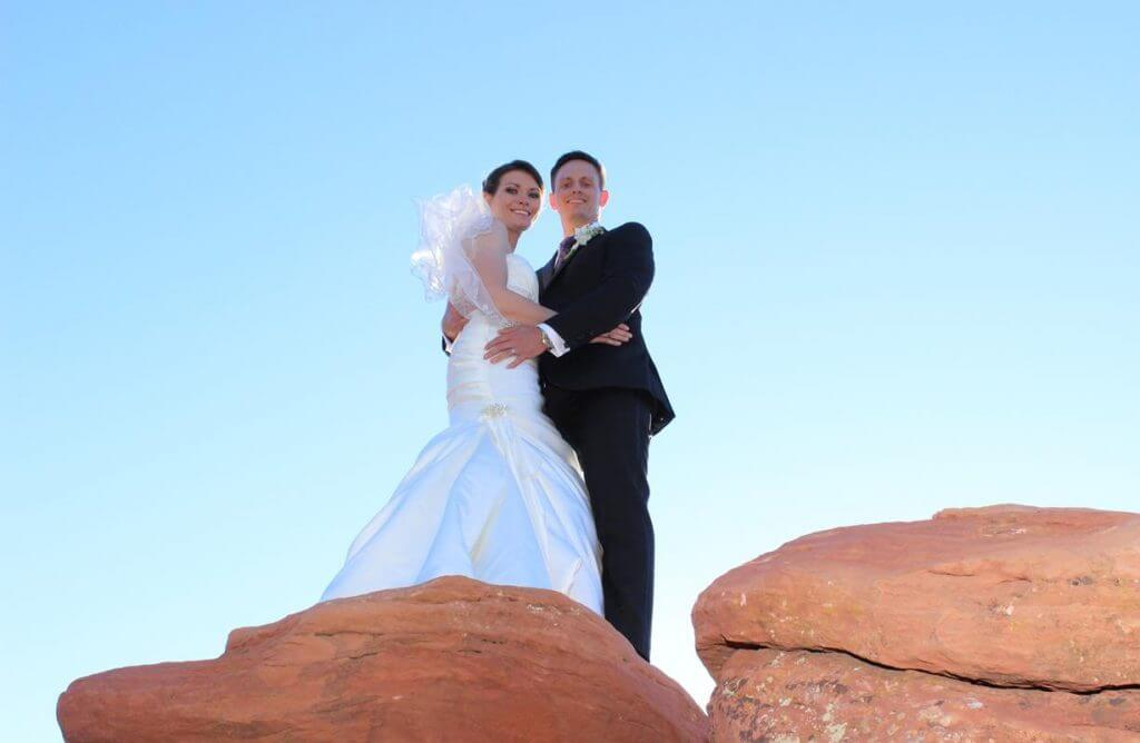 young couple standing on an overlook at Merry-Go-Round wedding venue