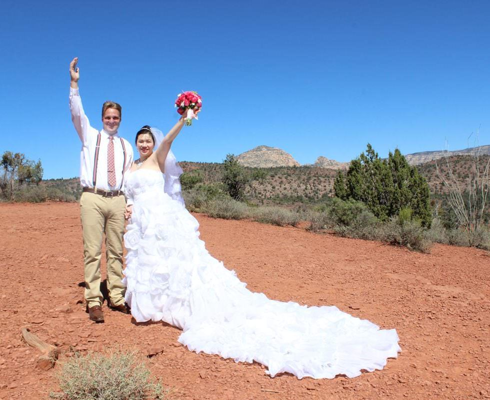 Wedding Ceremony of Yuki and Wesley at Lover's Knoll in Sedona
